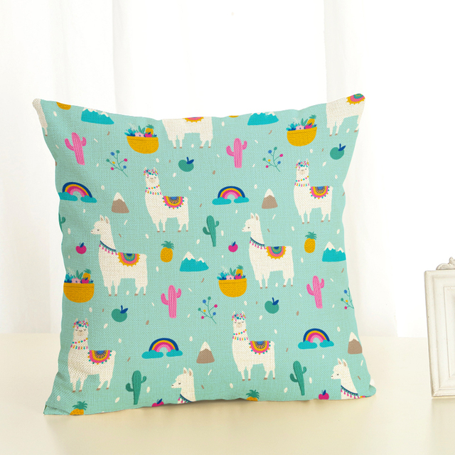 Cactus Alpaca Throw Pillow Cover