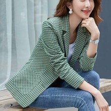 M-3XL Plus Size Womens Jacket Single-breasted Female Blazer Vintage British Style for 2019 Plaid Women