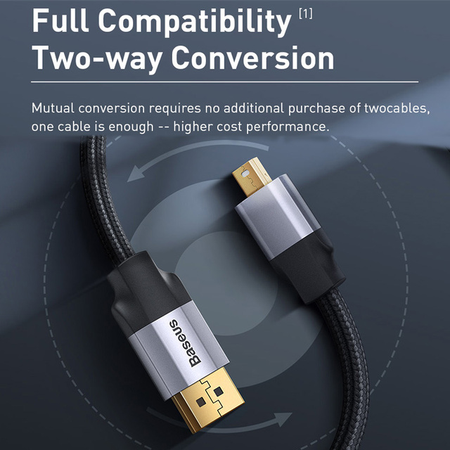 Baseus Mini DP to DP Cable 4K Male to Male Cord DisplayPort to Mini Display Port Cable Adapter for PC HDTV Viedo Digital Cable