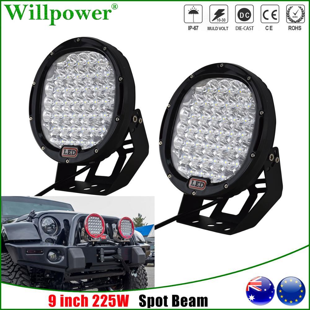 Farol redondo de led para caminhão, 1 par de faróis redondos de 9 polegadas e 225w, lâmpadas para caminhão jeep jk wrangler off road suv 4x4 luz de condução de holofotes de captação