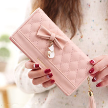 2019 Fashion Women bow Wallets with Tassel Long Style Multi-functional wallet Purse Fresh PU leather Female Clutch Card Holder fashion style women s clutch with rivets and pu leather design