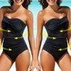 SAGACE Solid Bandeau 2019 One pieces Swimsuit Female Swimwear Women Bow Bathing suit Beach Wear Off Shoulder Swimming Suit 5xl 1