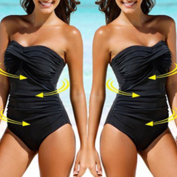 SAGACE Solid Bandeau 2019 One pieces Swimsuit Female Swimwear Women Bow Bathing suit Beach Wear Off Shoulder Swimming Suit 5xl 1