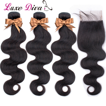 Luxediva Hair Body Wave Bundles With Closure Brazilian Hair Weave Bundles With Lace Closure Remy Human Hair Extension Doubleweft цена