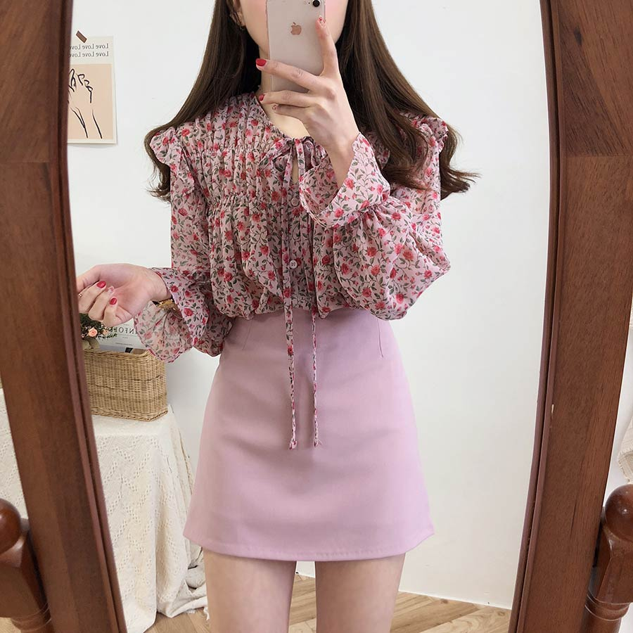 Habbec66245b44269b661c1298bb518def - Spring / Autumn Lace-Up Collar Long Sleeves Floral Print Blouse
