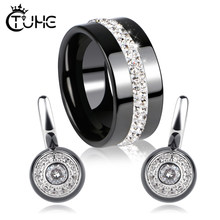 2019 Female Jewelry Sets Healthy Ceramic Crystal Circle Shape Ceramic Rings Stud Earrings for Women Wedding Jewelry Bijoux(China)