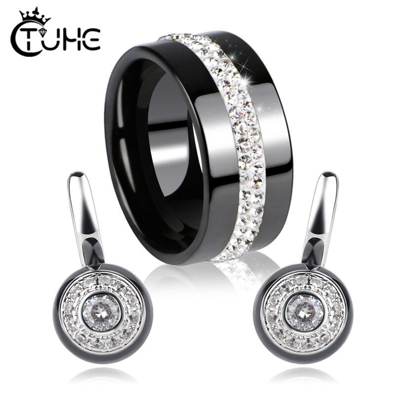 2019 femelle Bijoux ensembles sain en céramique cristal cercle forme céramique anneaux boucles d'oreilles pour femmes Bijoux de mariage Bijoux