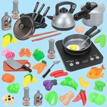 44PCS Children Mini Kitchen Toy Cookware Pot Pan Kids Pretend Cook Play Toy Simulation Kitchen Utensils Toys Children Gift