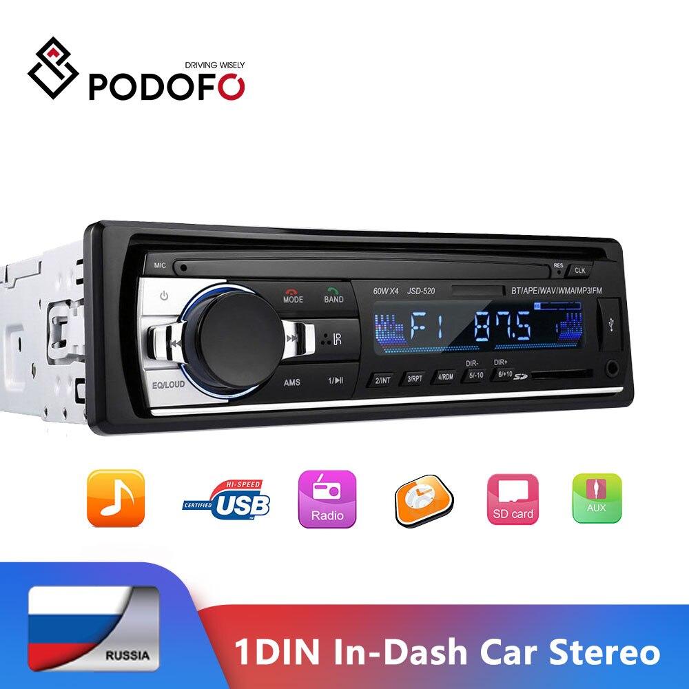 Автомагнитола Podofo, 1 DIN, 12 В, Bluetooth-аудио, MP3-плейер, USB/SD/AUX-IN, с пультом управления