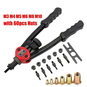 цена на Automatic Rivet Nut Tool Hand Blind Riveter Hand Riveter Rivet Gun Manual Mandrel M3 M4 M5 M6 M8 M10 Hand Tool