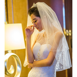 new elegant handmade beading bridal veil hard Tulle two layers with bead edge short veils Wedding dress accessories with comb