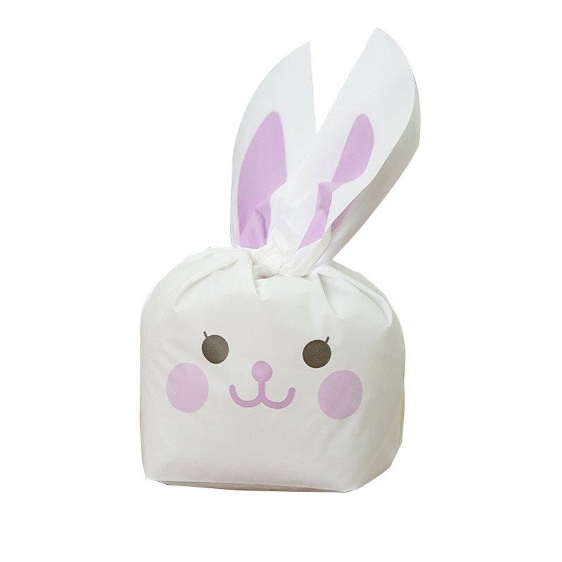 New 10pcs/lot Cute Rabbit Ear Gift Bags For Cookie Candy Snack Baking Package Plastic Wedding Favors Easter Christmas Decoration
