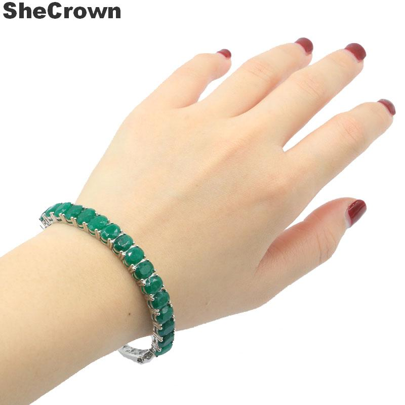 8x6mm Luxury Real Green Emerald Gift For Sister Silver Bangle Bracelet 7.5inch title=