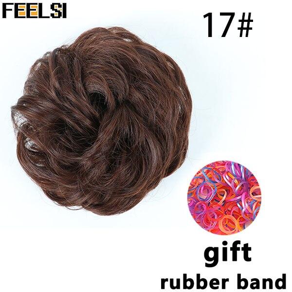 FEELSI синтетические гибкие волосы булочки кудрявые резинки шиньон эластичные грязные волнистые резинки для наращивания конского хвоста для женщин - Цвет: 1B/30HL