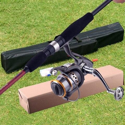 fibra de carbono vara de pesca telescopica e carretel combinacao kit completo fiacao carretel de