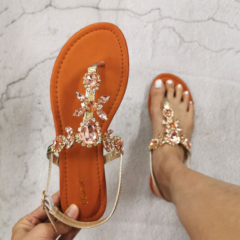 2020 Trendy Summer Women's Shoes Large Size Beautiful Crystal Shiny Flat With Female Sandals  Bohemia Back Strap Footwear