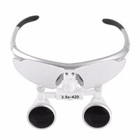 Dental Loupes 3.5X 420mm Surgical Glasses with Portable LED Head Light Dental Equipment Surgical Dentists Magnifier 2018 Hot New
