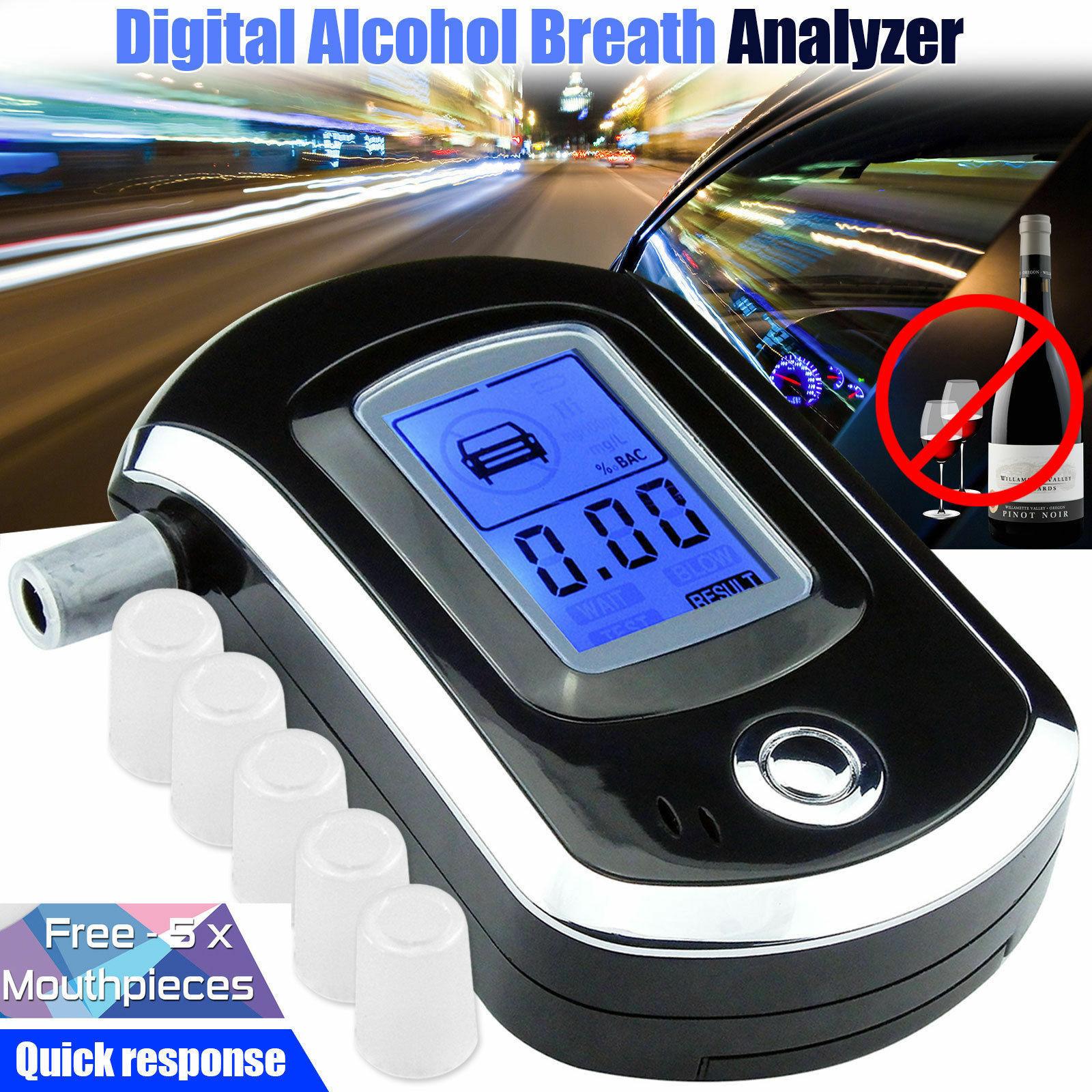 Mouthpiece LCD Digital Breath Alcohol Tester Police Breathalyzer Test Analyzer
