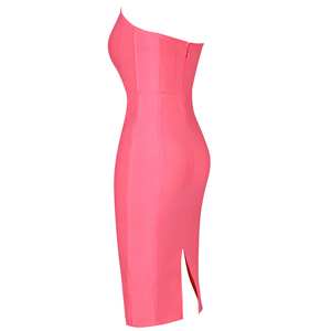 Image 4 - Ocstrade Womens 여름 붕대 옷 새 도착 2019 Strapless 핑크 붕대 드레스 Bodycon 섹시한 나이트 클럽 파티 드레스