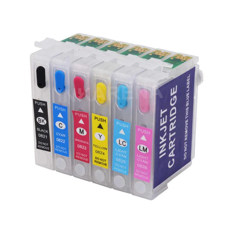 Inkarena 6 × 100 Ml Botol Tinta Dye + T0821 Isi Ulang Tinta Printer Cartridge untuk EPSON STYLUS PHOTO T50 R290 r295 R390 RX590 RX610