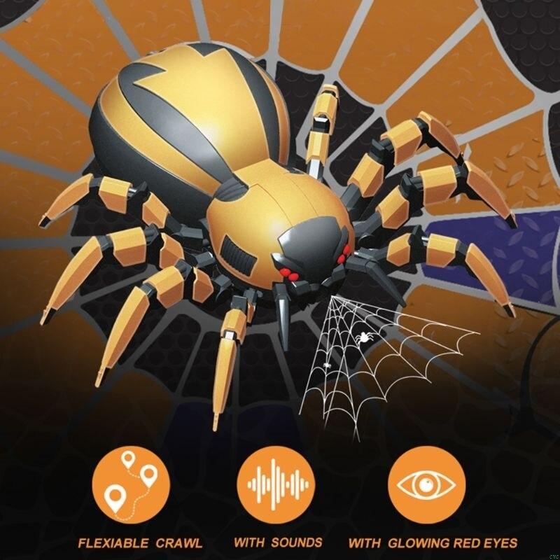 fk502a realista 4ch controle remoto aranha mecanica legal luzes led nos olhos sons brinquedo para criancas