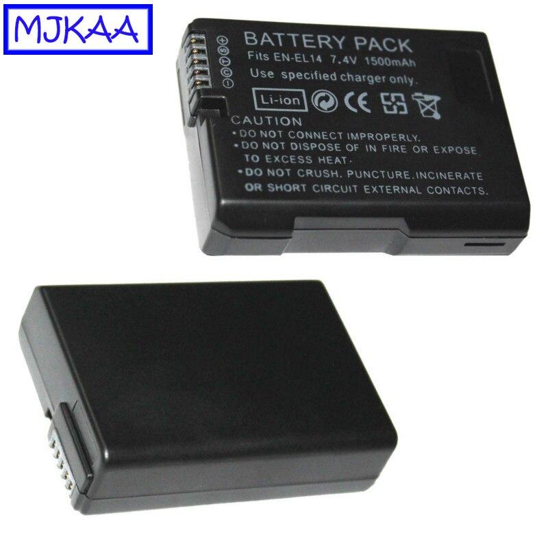 MJKAA EN-EL14 7.4V 1500mAh LI-ion Camera Battery Pack High Quality For Nikon D5200 D3100 D3200 D5100 P7000 P7100 MH-24
