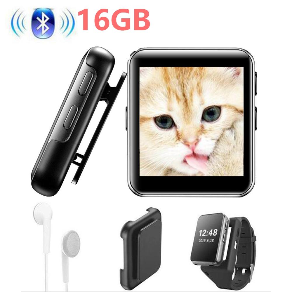 MP3 Player With Bluetooth4.0 Mini Clip MP3 Music Player With Touch Full Screen,FM Radio,Voice Recorder,Video Play, Wrist Belt