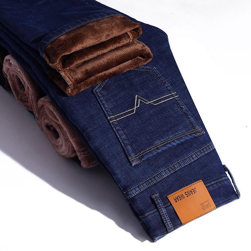 Зимние теплые фланелевые Стрейчевые джинсы для мужчин s, зимние качественные мужские флисовые штаны от известного бренда, прямые флокированные брюки, мужские джинсы - Цвет: Blue