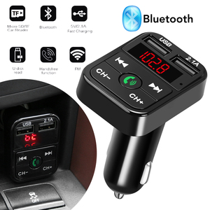 Carro bluetooth transmissor fm sem fio receptor de áudio handsfree auto led mp3 player 2.1a dupla usb carregador rápido acessórios do carro