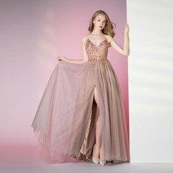 Recién llegado 2020 Sexy Spaghetti Straps vestidos de noche con cristales con cuentas Slit Formal Prom vestidos ver a través