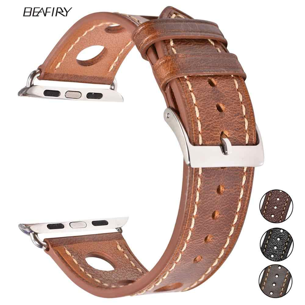 BEAFIRY Apple watch için hakiki deri kayış 5 bant 44mm iwatch bileklik 42mm moda watchband bilezik Apple watch serisi 4 3 2 1