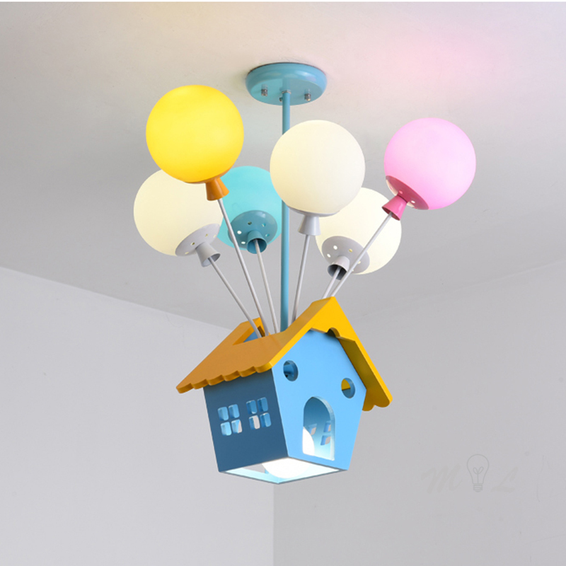 Modern Children Room Hanging Lamps Wood House Pendant Light Kid Princess Room Light Living Room Kitchen Lights Hanging Fixtures