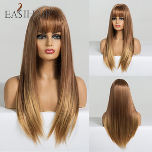 Image 5 - EASIHAIR Long Straight Black to Brown Ombre Synthetic Wigs for Women Natural Hair Wigs with Bangs Heat Resistant Cosplay Wigs