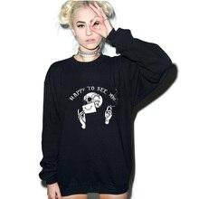 Glücklich, Sehen Sie Gothic Hoodie Frauen Grunge Grafik Fleece Warme Mode Halloween Sweatshirts Unisex Langarm Drop Verschiffen