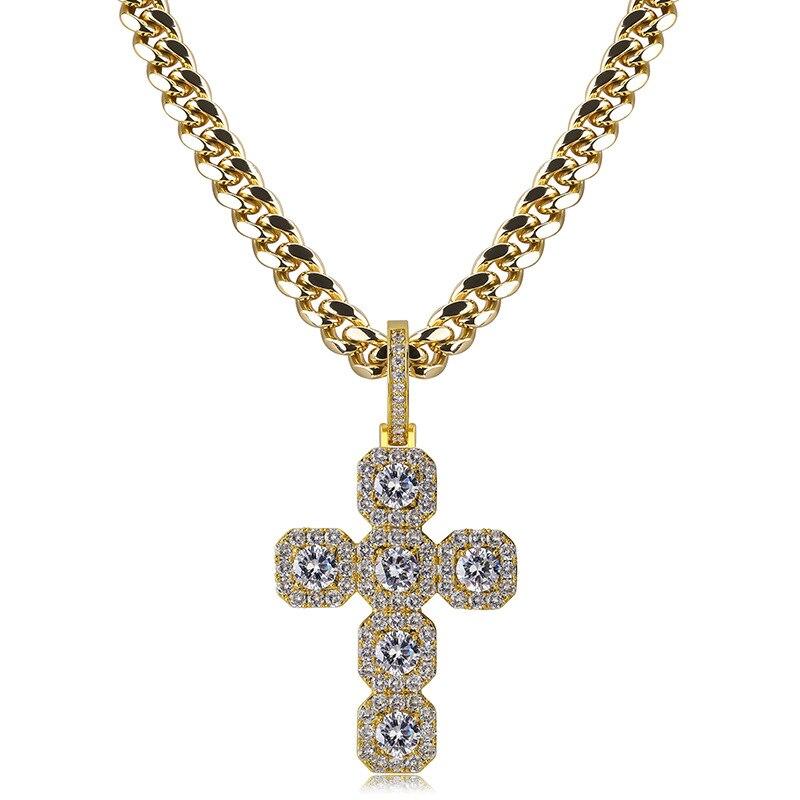 DNSCHIC Super grande croix solide pendentif plein Zircon 92mm haut rétro Hip Hop grand glacé sur boucle collier hommes femmes bijoux Punk
