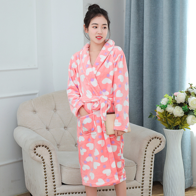 Winter Flannel Robe Nightwear Soft Warm Thick Coral Kimono Bathrobe Gown Women Casual Home Clothing Lovers Sleepwear Homewear