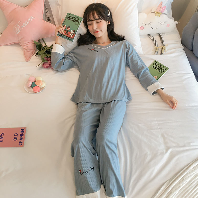 Pajamas Women's Spring And Autumn Pure Cotton Long Sleeve Cute Sweet Flamingo Two-Piece Set Thin Korean-style Winter Home Wear