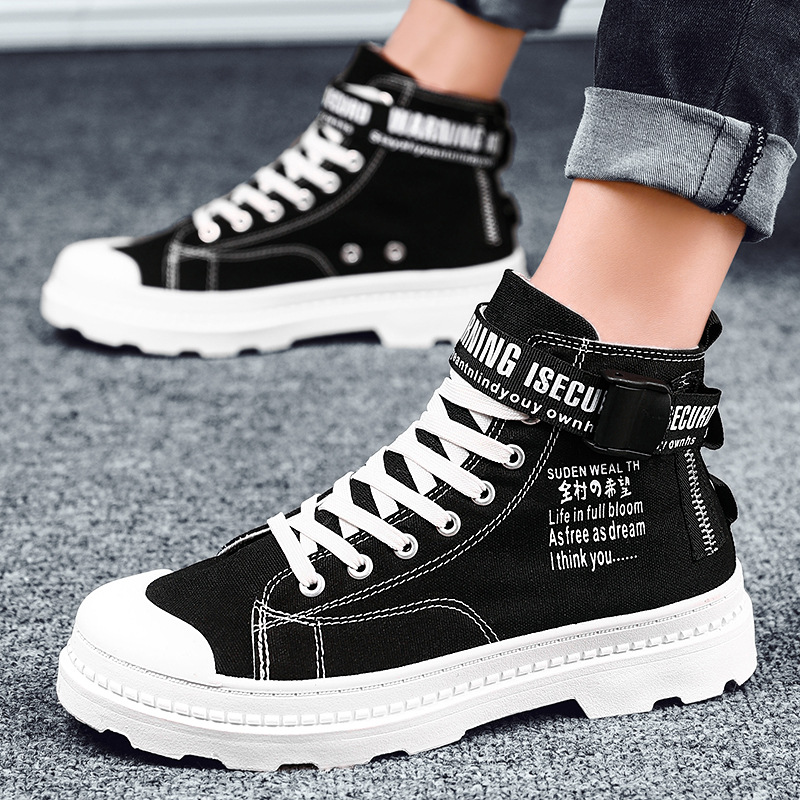 high help Martin boots men Korean version of the trend of casual men's breathable canvas shoes black shoes men's shoes