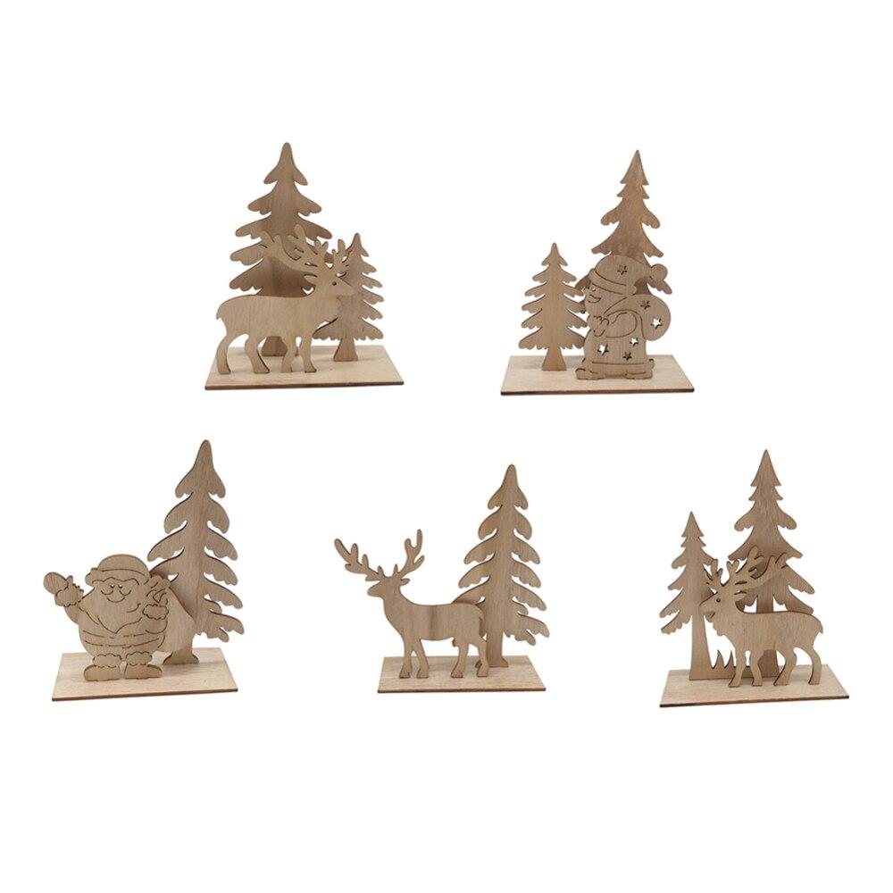 Adornos de árbol de Navidad de alce de madera de Año Nuevo manualidades Decoración de mesa decoración de Hotel Celebración de Navidad decoración para el hogar