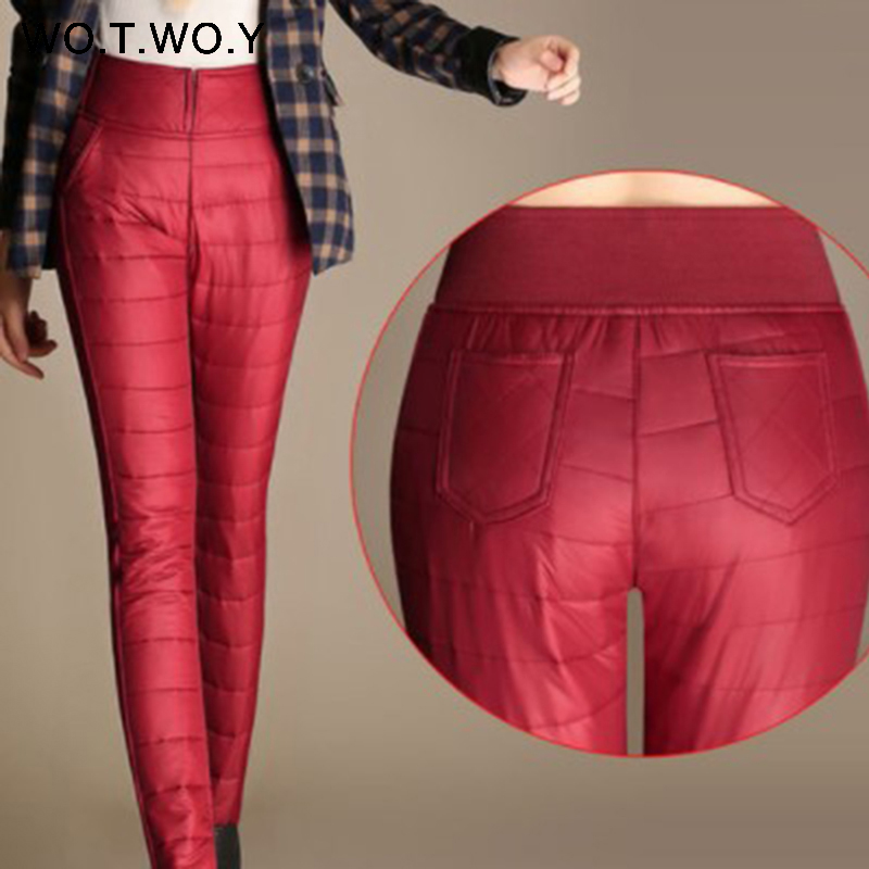 WOTWOY Casual  Winter Velvet Pants Women 2019 Plus Size Female Thick Warm Women Trousers High Waisted Cotton Pocket Female Pants