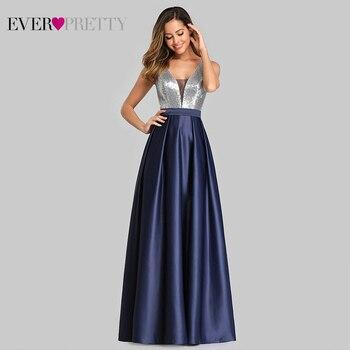 Ever Pretty V-Neck Sequined Bodice Backless A Line Long Evening Dresses Elegant Vestido De Festa Fast Shipping Satin Prom Gowns 3