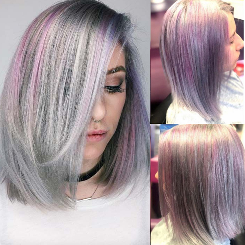 Brazilian Purple Lace Human Hair Wigs For Womenk Straight Non Remy Bob Wig Pre Plucked 1B Pink Grey Three Tone Colored Wig