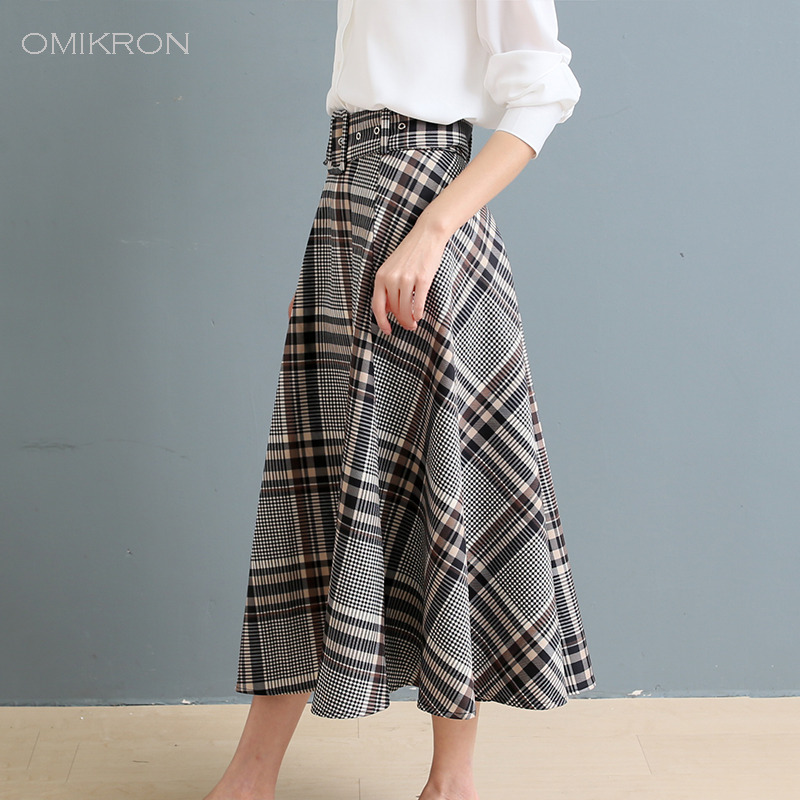 OMIKRON Nwe Plus Size Autumn Women Girls A-line Long  Plaid Skirt Female Vintage Warm Thick Winter High Waist Female Skirts