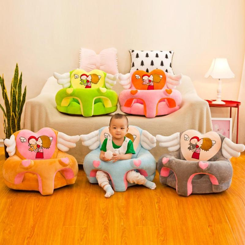 Baby Cartoon Sofa Cartoon Children Sofa Cover Cute Wings Baby Learn To Sit Seat Chair Cover Kids Seat Toys Without Cotton
