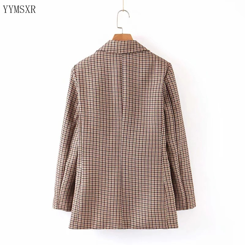 Elegant checked ladies blazer small suit 2020 new spring and autumn retro single-breasted ladies jacket coat Casual top