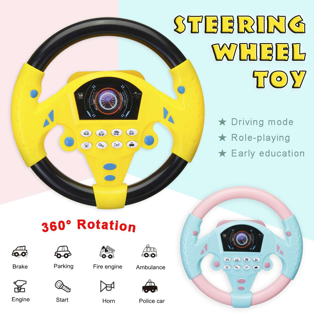 Electric Musical Instruments Baby Steering Wheel Puzzle Developing Educational Toy Car Simulation Steering Toys For Child Gift