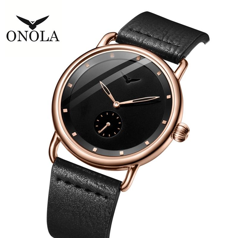 ONOLA Stainless Steel Simple Men Watch 2019 Genuine Leather Classy Wrist Watch Men Fashion Casual Waterproof Relogio Masculino