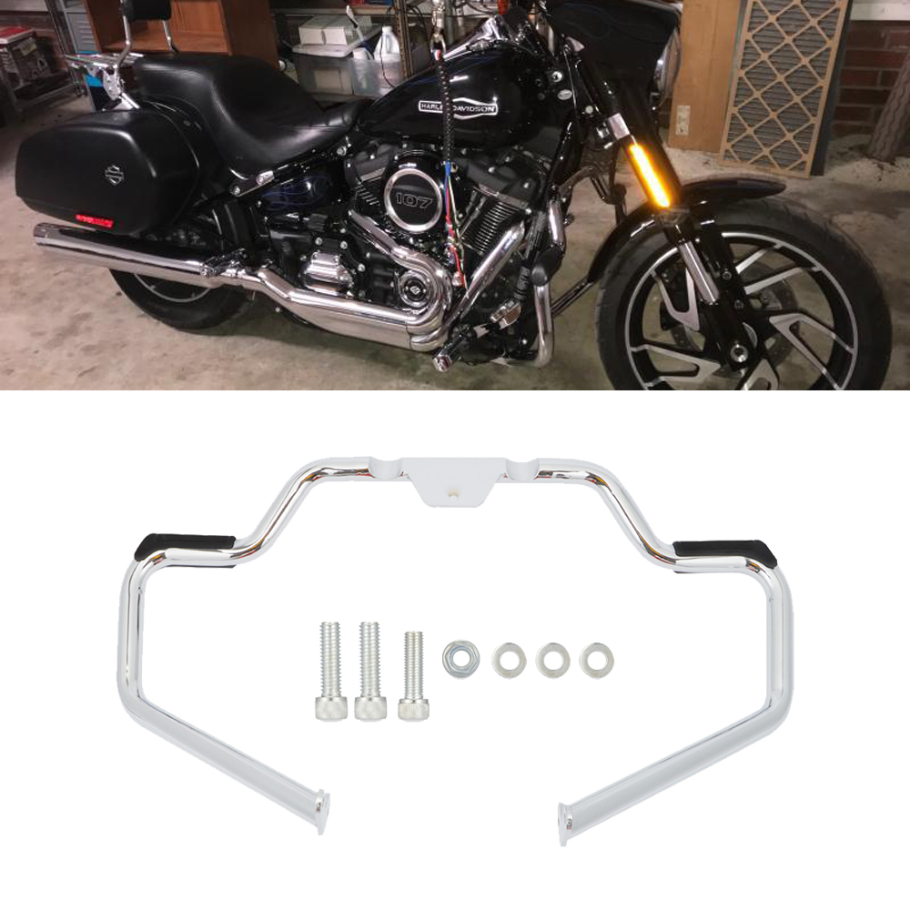 Chrome Mustache Engine Guard Frame Highway Crash Bar For Harley Softail Heritage Fat Boy FXBR FXFB FLHC FXLR FLFB 2018-UP