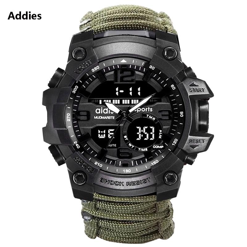 Addies Military Watch Men With Compass/whistle /scraper/Waterproof 30M Outdoor Men Sports G Style -Shock Watch Relogio Masculino
