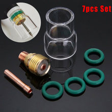 7 Pcs 2.4mm TIG Welded Short Thick Torch Airscope # 12 Pyrex Cup Kit For WP-9 / 20/25(China)